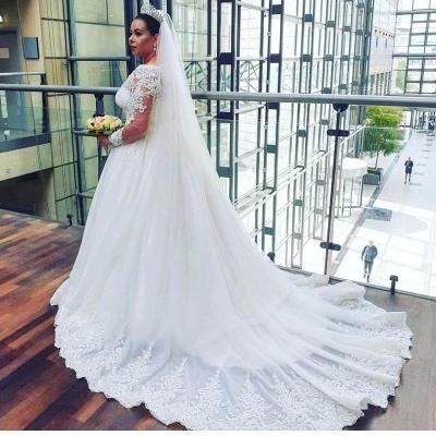 Schöne Brautkleider A Linie Mit Spitze | Prinzessinen Brautkleider mit Ärmel_4