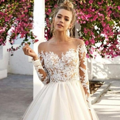 Fashion wedding dress A line | Wedding dresses lace with sleeves_4