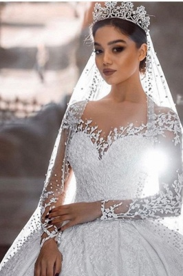 Extravagant wedding dresses princess | Wedding dress with long sleeve lace_1