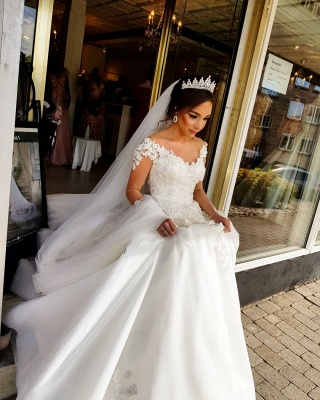 Designer wedding dress with sleeves | Lace wedding dresses A line_4