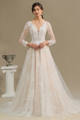 Designer wedding dress A line lace | Wedding dresses with sleeves_3