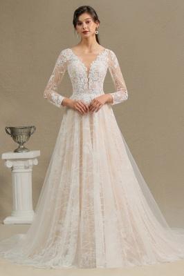 Designer Brautkleid A Linie Spitze | Hochzeitskleider mit Ärmel_3