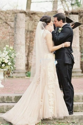 Beautiful blush wedding dress | Wedding dresses a line with lace_1