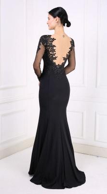 Designer Abendkleider Lang schwarz | Abiballkleider mit Ärmel_3