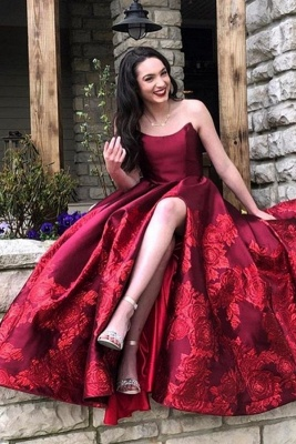 Elegant evening dresses long red | Prom dresses with lace_1