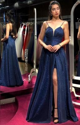 Designer Abendkleider Lang Glitzer | Abiballkleider Blau