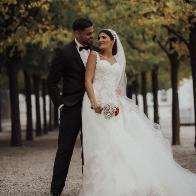 Moderne Brautkleider mit Spitze | A Linie Hochzeitskleid Lange Schleppe_3