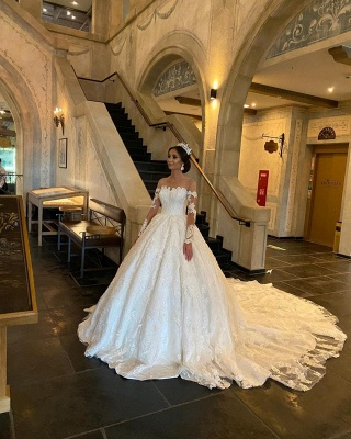 Extravagant wedding dress with sleeves | Princess wedding dresses with lace_4
