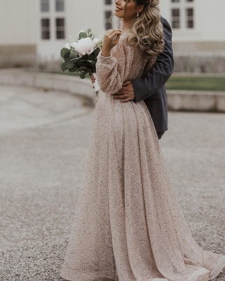 Schöne Brautkleid Glitzer mit Ärmel | Schlichte Hochzeitskleider V Ausschnitt_5