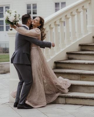 Schöne Brautkleid Glitzer mit Ärmel | Schlichte Hochzeitskleider V Ausschnitt_3