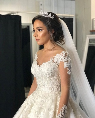 Designer wedding dress with sleeves | Lace wedding dresses A line_7