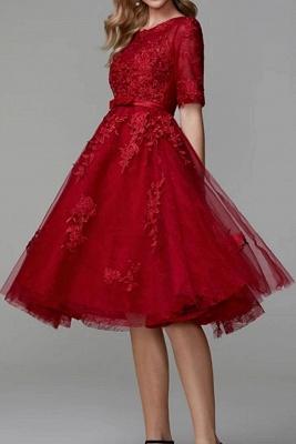 Abendkleider Kurz Rot | Spitze Cocktailkleider Mit Ärmel