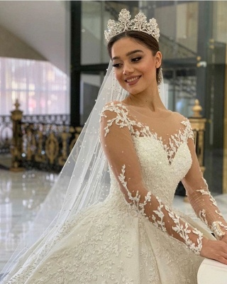 Extravagant wedding dresses princess | Wedding dress with long sleeve lace_4