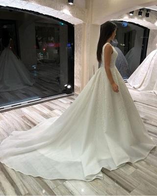 Designer Brautkleid V Ausschnitt | Hochzeitskleider  A Linie mit Spitze_3