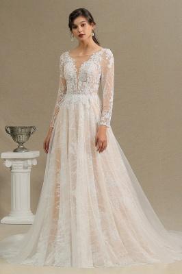 Designer Brautkleid A Linie Spitze | Hochzeitskleider mit Ärmel_5