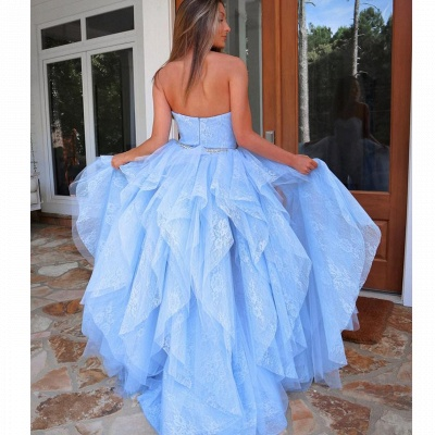 Light blue evening dress with lace | Cocktail dresses short front long back_3