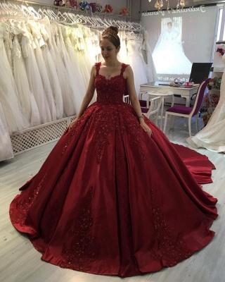 Prinzessin Abendkleider Weinrot | Abiballkleider mit Spitze_2
