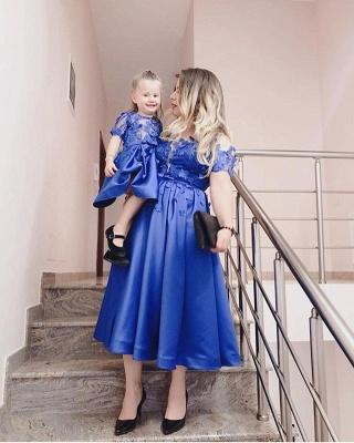 Blaue Abendkleider Cocktailkleider Kurz | Kinder Mutter Kleider Online_3