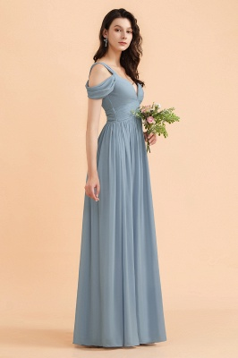 Brautjungfernkleider Stahlblau Lang Günstig | Schlichtes Abendkleid Chiffon_5