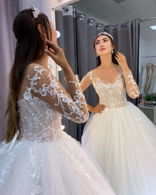 Elegant wedding dresses with sleeves | Wedding dresses princess lace_3