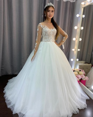 Elegant wedding dresses with sleeves | Wedding dresses princess lace_5