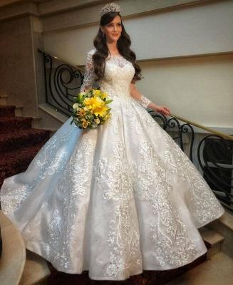 Hochzeitskleid mit Langen Ärmeln | Brautkleid A linie Spitze_2