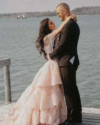 Wunderschöne Brautkleid Blush | A Linie Hochzeitskleid mit Spitze_7