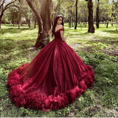 Burgundy wedding dresses princess | Cheap wedding dresses online_3