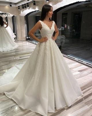 Designer Brautkleid V Ausschnitt | Hochzeitskleider  A Linie mit Spitze_2