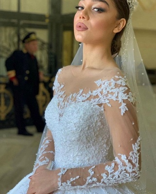 Extravagant wedding dresses princess | Wedding dress with long sleeve lace_3