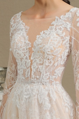 Designer wedding dress A line lace | Wedding dresses with sleeves_14