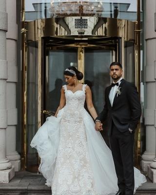 Moderne Brautkleider mit Spitze | A Linie Hochzeitskleid Lange Schleppe_2