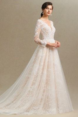 Designer wedding dress A line lace | Wedding dresses with sleeves_8