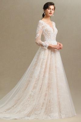 Designer Brautkleid A Linie Spitze | Hochzeitskleider mit Ärmel_8