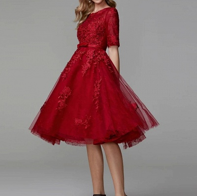 Evening dresses short red | Lace cocktail dresses with sleeves_2