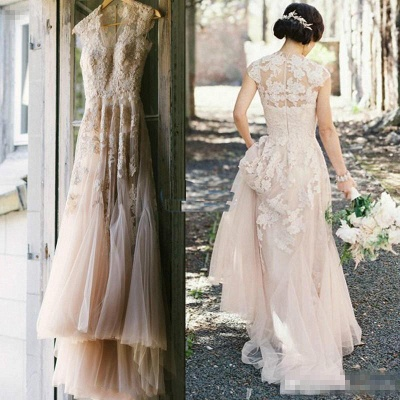Beautiful blush wedding dress | Wedding dresses a line with lace_2