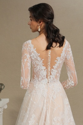 Designer wedding dress A line lace | Wedding dresses with sleeves_13