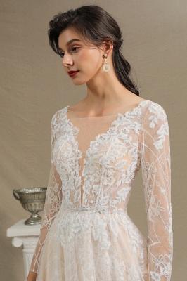 Designer Brautkleid A Linie Spitze | Hochzeitskleider mit Ärmel_7