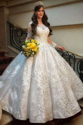 Wedding dress with long sleeves | Wedding dress A line lace_1