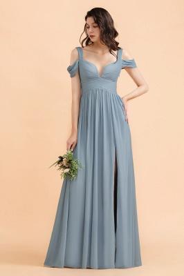 Brautjungfernkleider Stahlblau Lang Günstig | Schlichtes Abendkleid Chiffon_1