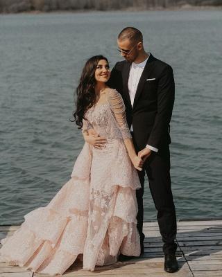 Wunderschöne Brautkleid Blush | A Linie Hochzeitskleid mit Spitze_4
