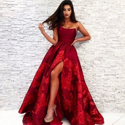 Elegant evening dresses long red | Prom dresses with lace_3