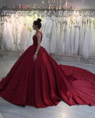 Prinzessin Abendkleider Weinrot | Abiballkleider mit Spitze_3