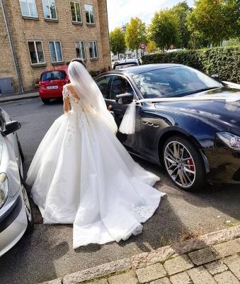 Designer Brautkleid Mit Ärmel | Spitze Hochzeitskleider A Linie_5