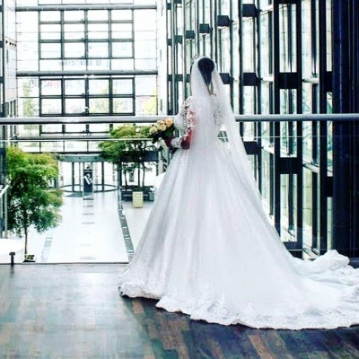 Schöne Brautkleider A Linie Mit Spitze | Prinzessinen Brautkleider mit Ärmel_3