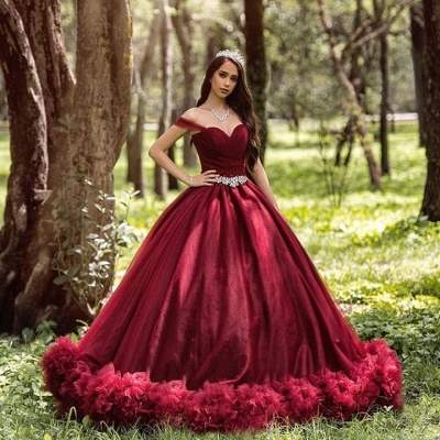 Burgundy wedding dresses princess | Cheap wedding dresses online_2