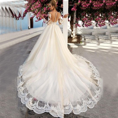 Fashion wedding dress A line | Wedding dresses lace with sleeves_3