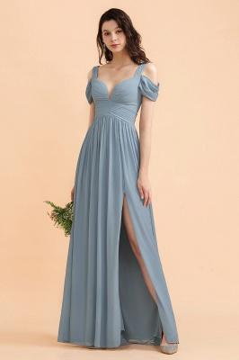 Brautjungfernkleider Stahlblau Lang Günstig | Schlichtes Abendkleid Chiffon_6