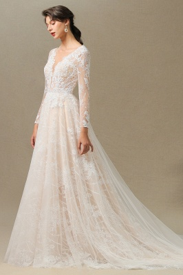 Designer wedding dress A line lace | Wedding dresses with sleeves_11
