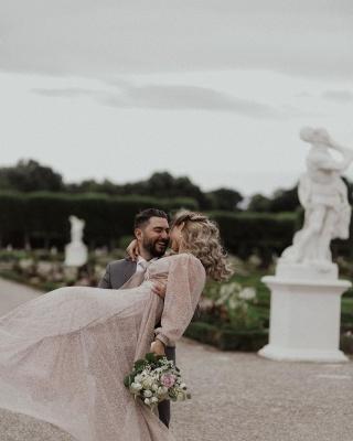 Schöne Brautkleid Glitzer mit Ärmel | Schlichte Hochzeitskleider V Ausschnitt_2